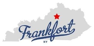 map of Kentucky with the city of Frankfort